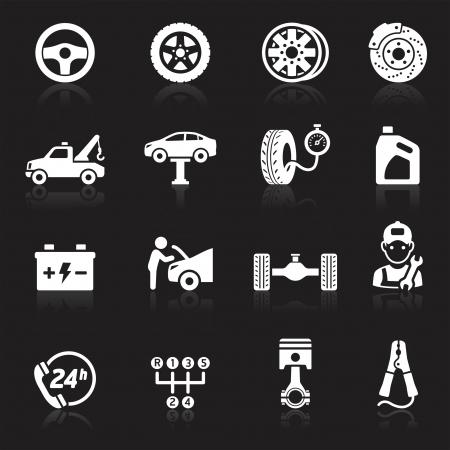 llantas: Servicio de mantenimiento de coches icono set1. Vectores