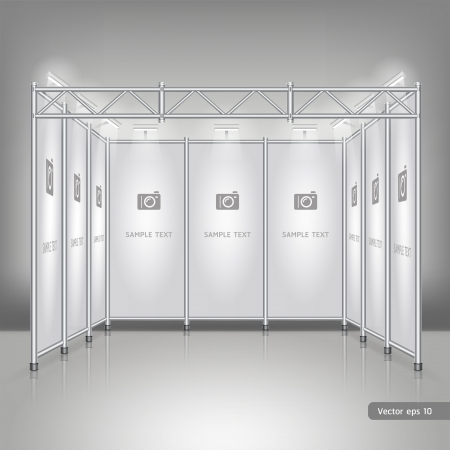 business exhibition: Trade exhibition stand display. Illustration