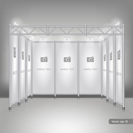 beursvloer: Vakbeurs staan display. Stock Illustratie