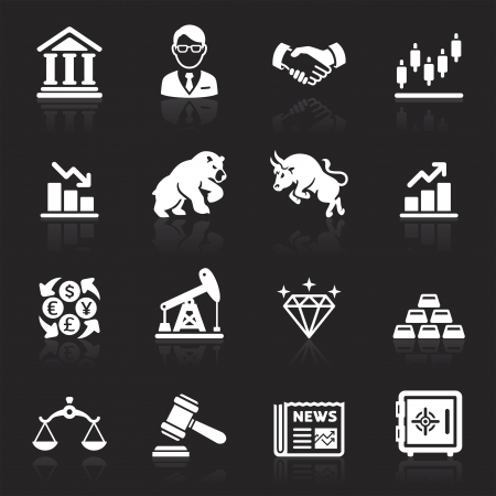 business law: Business and finance stock exchange icons.