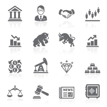 toro: Affari e finanza borsa icone. Vettoriali