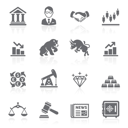 stock clip art icon: Business and finance stock exchange icons.
