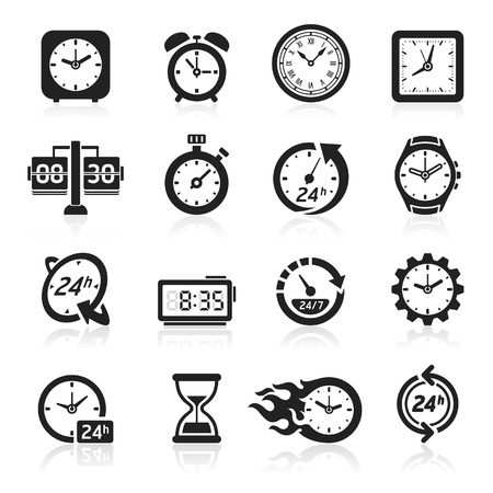 time line: Clocks icons.