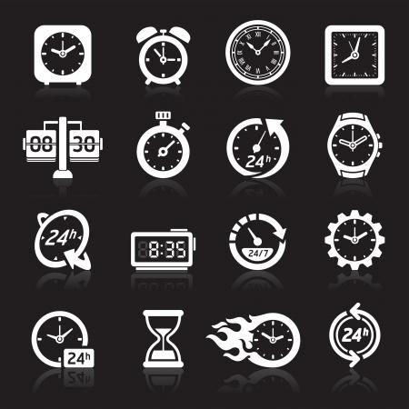 despertador: Relojes iconos. Vectores