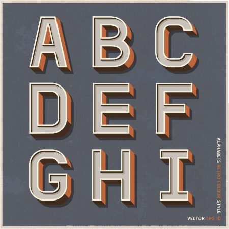 types: Alphabet retro colour style  Vector illustration
