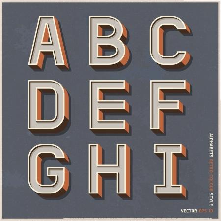 alphabet: Alphabet retro, Farbe, Stil Vektor-Illustration