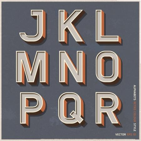 alfabeto: Alfabeto del estilo retro de color ilustraci�n vectorial Vectores