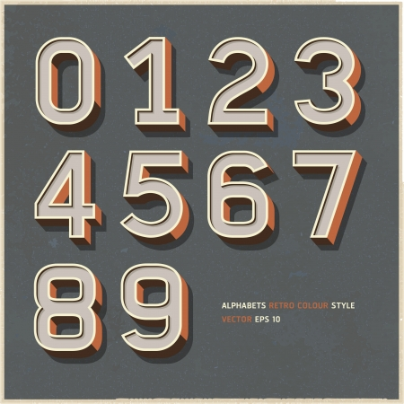 Alphabet numbers retro colour style Vector illustration