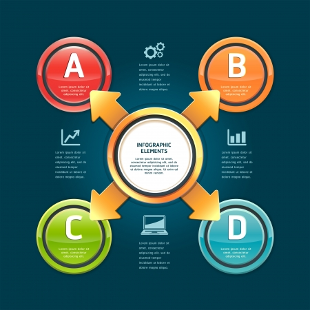 Colorful arrow circle options banner  Vector illustration  can be used for workflow layout, diagram, web design, infographics, number banner   Vector