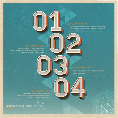 numbers icon: Retro color options number banner on old paper background  Vector illustration  can be used for workflow layout, diagram, web design, infographics   Illustration