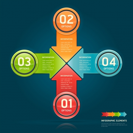 arrow circle: Colorful arrow circle number options banner  Vector illustration  can be used for workflow layout, diagram, web design, infographics