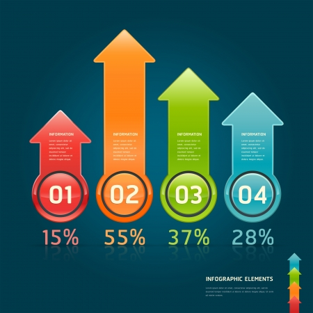 arrows circle: Colorful arrow circle number options banner  Vector illustration  can be used for workflow layout, diagram, web design, infographics