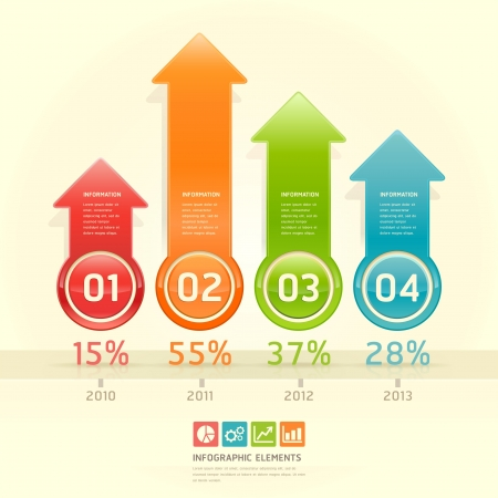 Colorful arrow number options banner  Vector illustration  can be used for workflow layout, diagram, web design, infographics  Vector