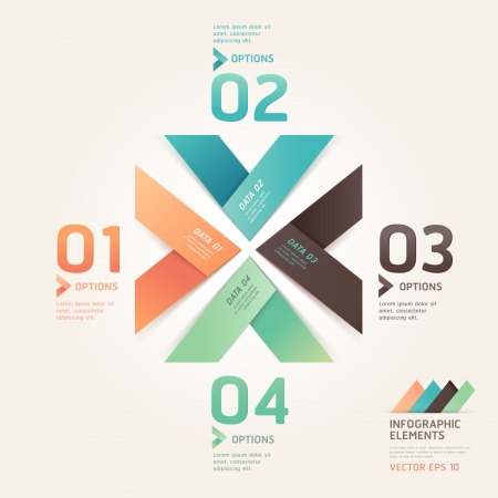 options: Modern arrow origami style number options banner  Vector illustration  can be used for workflow layout, diagram, web design, infographics  Illustration