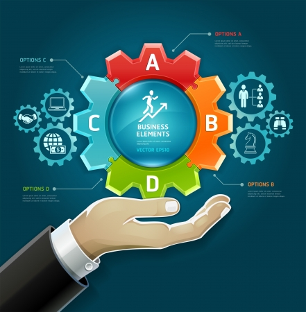 Business concept  businessman hand with business strategy diagram options in Gears symbol  Vector illustration  can be used for workflow layout, diagram, number options , web design, infographics  Vector