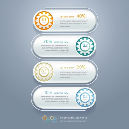 Color Gears Infographics Number Options Banner  Vector illustration  can be used for workflow layout, diagram, step options , web design, infographics  Vector