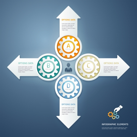 Color Gears Infographics Options Banner  Vector illustration  can be used for workflow layout, diagram, step options , Number Options, web design, infographics  Vector
