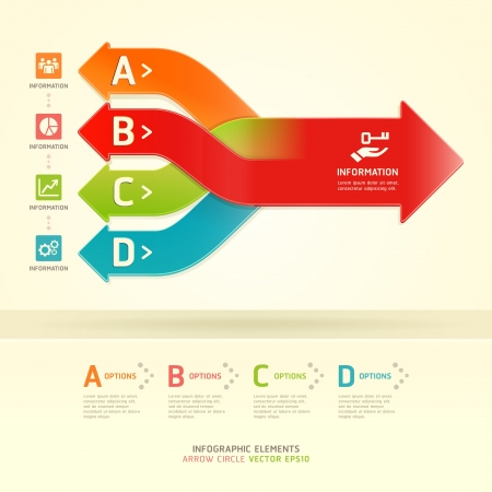 Colorful modern arrow circle options banner  Vector illustration  can be used for workflow layout, diagram, number options, web design, infographics  Vector