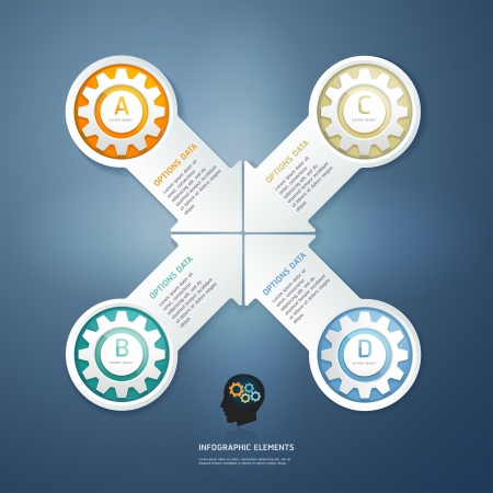 Color Gears Infographics Options Banner. Vector illustration. can be used for workflow layout, diagram, step options , number Options, web design, infographics. Vector