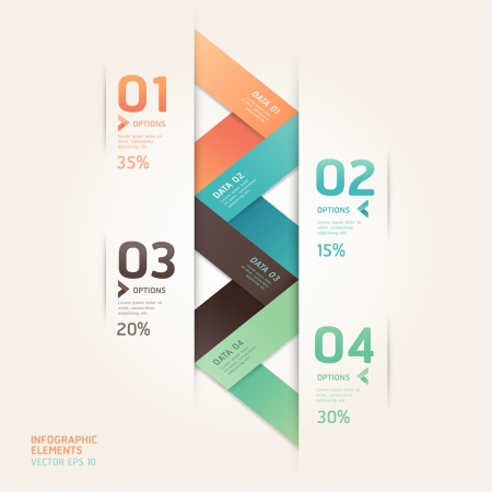 web design: Modern arrow origami style number options banner. Vector illustration. can be used for workflow layout, diagram, step options, web design, infographics. Illustration