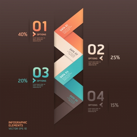 flyer design: Modern arrow origami style number options banner. Vector illustration. can be used for workflow layout, diagram, step options, web design, infographics. Illustration