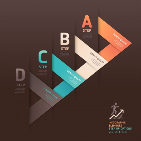 web layout: Modern arrow origami style step up options banner. Vector illustration. can be used for workflow layout, diagram, number options, web design, infographics.