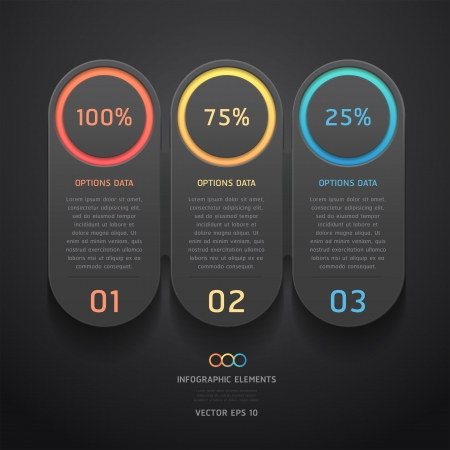 web layout: Modern black infographics banner  Vector illustration  can be used for workflow layout, diagram, web design, number options  Illustration