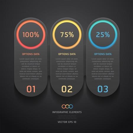 flyer background: Modern black infographics banner  Vector illustration  can be used for workflow layout, diagram, web design, number options  Illustration