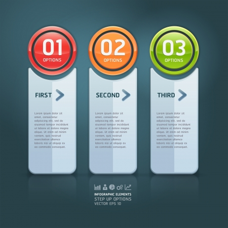 Colorful step up options banner template  illustration  can be used for workflow layout, diagram, number options, web design, infographics  Vector