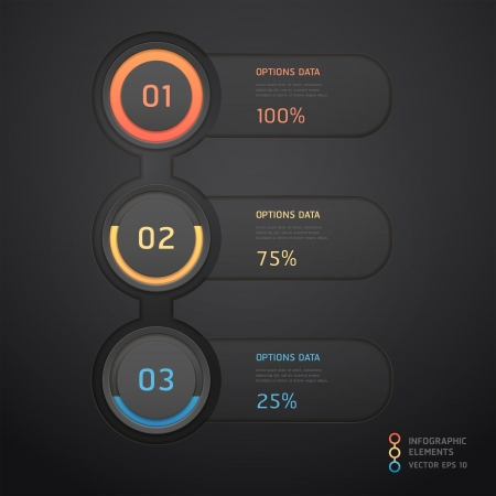 Modern black infographics banner  illustration  can be used for workflow layout, diagram, web design, number options  Vector
