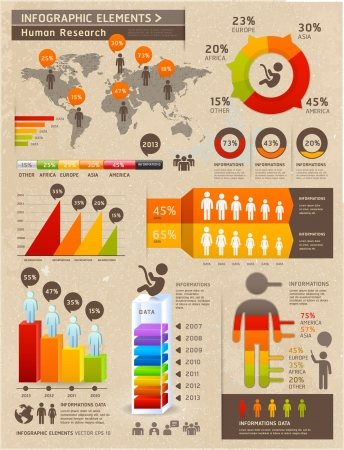 demographics: Retro Color Infographics Elements with World map and Information Graphics on Old Paper Background. Can be used for workflow layout, diagram, step options, web design, number options banner. Illustration