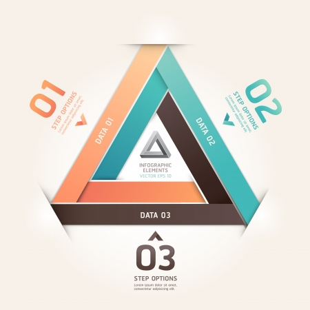 infinity icon: Modern infinite triangle origami style number options banner   illustration  can be used for workflow layout, diagram, step options, web design, infographics