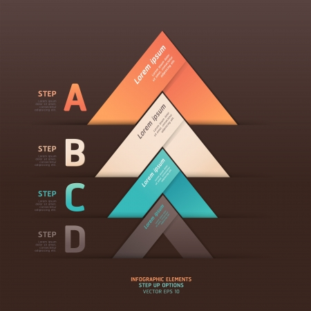 triangle button: Modern arrow origami style step up options banner   illustration  can be used for workflow layout, diagram, number options, web design, infographics  Illustration