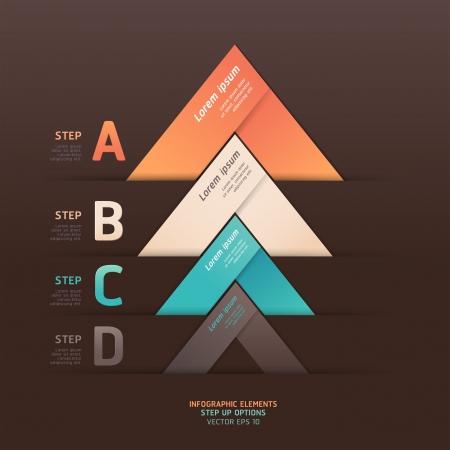 triangle button: Moderno estilo origami paso flecha hacia arriba ilustraci�n bandera opciones se pueden utilizar para el dise�o de flujo de trabajo, diagrama, las opciones num�ricas, dise�o web, infograf�a