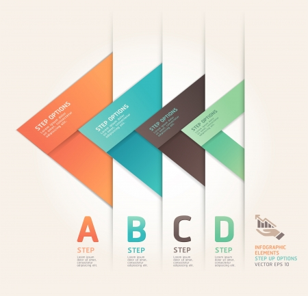 Modern arrow origami style step up options banner   illustration  can be used for workflow layout, diagram, number options, web design, infographics  Vector
