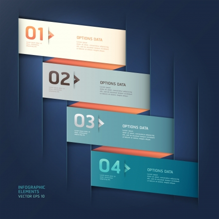 origami numbers: Modern arrow origami style step up number options banner template   illustration  can be used for workflow layout, diagram, web design, infographics