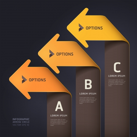 Modern arrow origami style step up options banner template   illustration  can be used for workflow layout, diagram, web design, number options, infographics  Vector