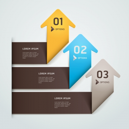 Modern arrow origami style step up number options banner template illustration can be used for workflow layout, diagram, web design, infographics