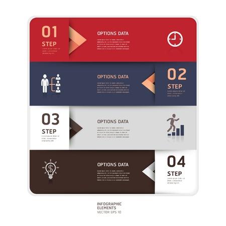 onglet: Moderne �tape fl�che style origami haut de l'illustration vectorielle options de banni�re peut �tre utilis� pour la mise en flux, diagramme, les options num�riques, web design, infographie Illustration