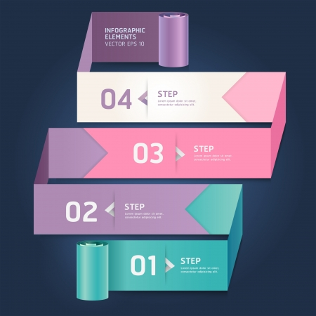Modern arrow origami style step up number options banner template  Vector illustration  can be used for workflow layout, diagram, web design, infographics