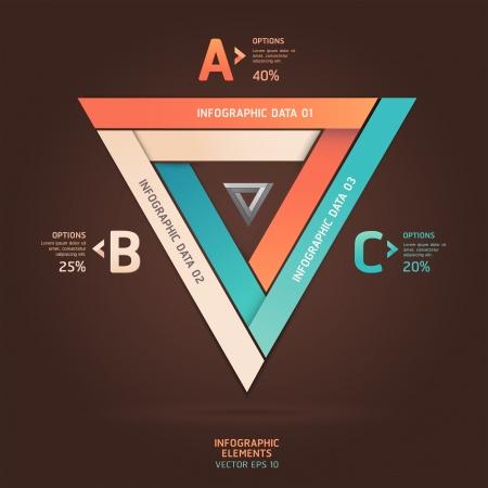 삼각형: 현대 무한 삼각형 종이 접기 스타일 옵션 배너입니다. 벡터 일러스트 레이 션. 워크 플로우 레이아웃, 그림, 스텝 옵션, 웹 디자인, 수 옵션, 인포 그래픽을 사용할 수 있습니다.