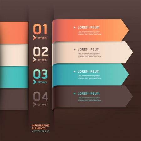 menu button: Modern arrow origami style number options banner  Illustration