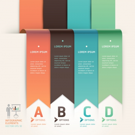 ribbon: Moderne Pfeil Origami-Stil step up Optionen banner template Illustration