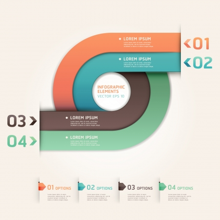 web design: Modern arrow circle step up options banner  Vector illustration  can be used for workflow layout, diagram, number options, web design, infographics