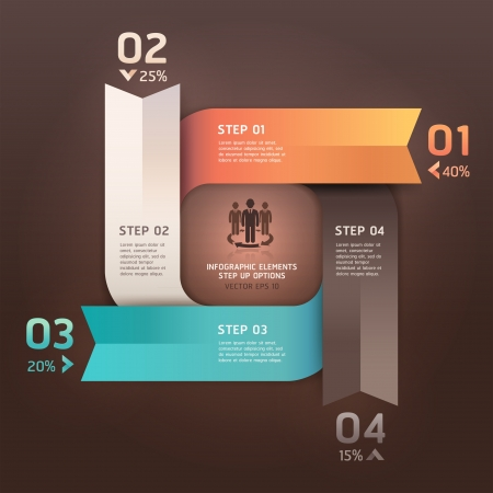 creative arts: Modern arrow circle step up options banner  Vector illustration  can be used for workflow layout, diagram, number options, web design, infographics