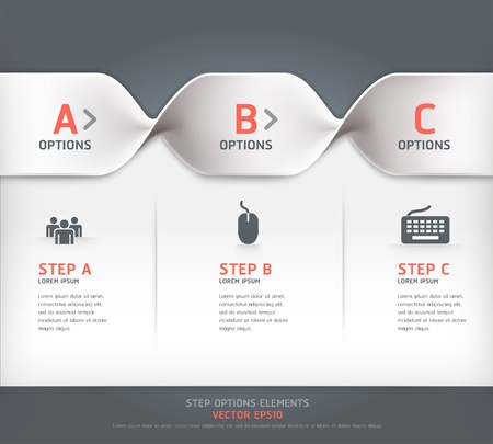 web design: Modern spiral step options banner  Vector illustration  can be used for workflow layout, diagram, number options, web design