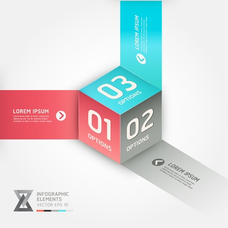 options: Modern cube origami style options banner. Vector illustration. can be used for workflow layout, diagram, number options, step up options, web design, infographics. Illustration