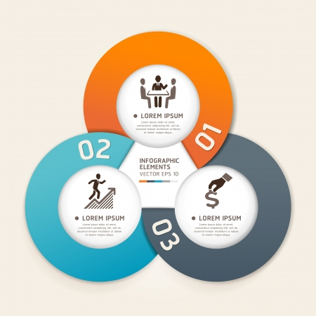 onglet: Moderne cercle d'affaires origami de style bandeau d'options illustration peut �tre utilis�e pour la mise en flux, diagramme, les options num�riques, intensifier les options, la conception web, infographie