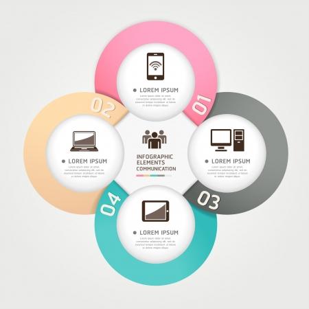 Moderna tecnologia di comunicazione circolo origami stile opzioni banner illustrazione può essere utilizzato per il layout del flusso di lavoro, diagramma, opzioni di numero, intensificare le opzioni, web design, infografica Vettoriali