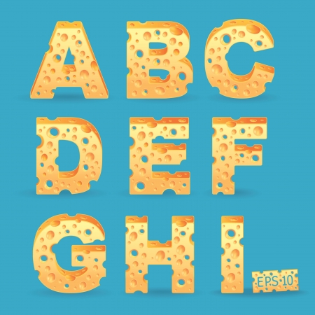 Cheese alphabet set illustration  More typeface style in my portfolio  Stock Vector - 18458545